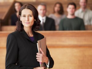woman attorney in courtroom